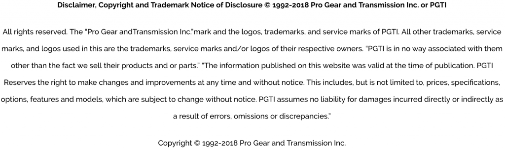 Pro Gear Disclaimer